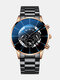 Business Men Watch Steel Band Waterproof Calendar Quartz Watch - Blue Needle Brown Shell Black Ba