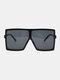 Women Oversized PC Full Square Frame UV Protection Fashion Sunglasses - Black
