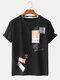 Mens Label Pattern Drop Shoulder Loose Short Sleeve Street T-Shirt - Black