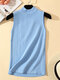 Solid Color Casual Sleeveless Knitting Sweater - Blue