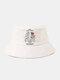 ユニセックス コットン ソリッド カラー レター スケルトン ローズ プリント ファッション オール マッチ バケット ハット - 白い