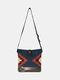 Women Felt Geometric Print Ethnic Crossbody Bag Shoulder Bag - Blue