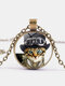 Vintage Glass Printed Women Necklace Cat Top Hat Monocle Pendant Necklace Jewelry Gift - Bronze