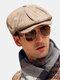 Men Wool Plus Thick Retro British Style Octagonal Hat Newsboy Hat Flat Hat Beret Hat - Khaki