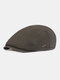 Men Ear Protection Winter Outdoor Solid Color Casual Universal Plus Thicken Beret Hat Flat Cap - Green