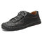 Large Size Classic Hand Stitching Soft Microfiber Leather Shoes - Black