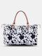 Natural Leopard Cow Pattern Tote Comfy Handle Waterproof Wearable Handbag - 3
