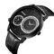 CRRJU reloj para hombre dos movimientos reloj de pulsera militar cuero cuarzo negocios relojes de lujo - Negro