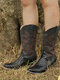 Plus Size Women Embroidered Splicing Chunky Heel Mid Calf Cowboy Boots - Black