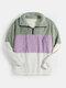 Mens Patchwork Half Zipper Fluffy Lapel Casual Teddy Sweatshirts - Green