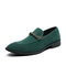 Men Suede Non Slip Business Stylish Business Slip On Formal Dress Shoes - Green