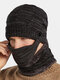 Men 3PCS Plus Velvet Thick Warm Winter Suits Neck Face Protection Knitted Hat Scarf Mask - Black