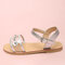 Girls Daily Fashion Flowers Decor Transparent Band Buckle Strap Beach Sandals - Silver