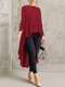 Print Polka Dot High Low Long Sleeve Plus Size Blouse - Red