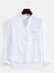 Mens Solid Color Chest Pocket Casual Basic Long Sleeve Henley Shirt - White