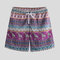 Mens Ethnic Style Multi Print Giraffe Beach Board Shorts Quick Dry Thin Party Pants With Pockets - Rose Red