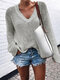 Solid Color V-neck Long Sleeve Casual Sweater For Women - Gray