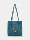 Cute Cartoon Embroidered Smooth Comfy Corduroy Tote Multi-Carry Magnetic Clasp Crossbody Bag - Blue