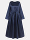 Solid Color Knotted Long Sleeve Loose Casual Maxi Dress - Navy