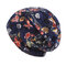 Women Flowers Ethnic Cotton Lace Beanie Hat Vintage Good Elastic Breathable Summer Turban Caps - Navy