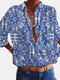 Fall Calico Printed Long Sleeve Lapel Collar Blouse For Women - Blue