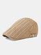 Men Cotton Solid Color Vertical Stripe Stitching Sunscreen Casual Beret Flat Caps - Khaki