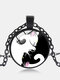 Vintage Glass Printed Women Necklace Yin-Yang Black-White Cat Pendant Necklace Jewelry Gift - Black