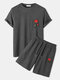 Mens Knitted Rose Embroidery Patched Short Sleeve T-Shirt & Drawstring Shorts Co-ords - Gray