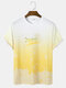Mens Yellow Ombre Letter Print Loose Street Short Sleeve T-Shirts - Yellow