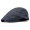 Cotton Embroidered Strip Pattern Artistic Young People Beret Cap Breathable Absorb Sweat Beret Hat - Grey