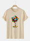 Mens Cube Graphic 100% Cotton Street Short Sleeve T-Shirts - Apricot
