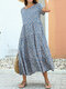 Floral Print Pleated Patchwork Short Sleeve Dress For Women - Blue