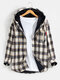 Mens Plus Velvet Plaid Warm Thick Cotton Hooded Shirts With Pocket - Apricot