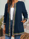 Vintage Ethnic Webbing Print Plus Size Jackets with Pockets - Navy