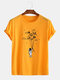 Mens Planet Astronaut Printed Cotton Round Neck Casual Short Sleeve T-Shirts - Yellow