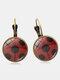 Vintage Seven-stars Ladybug Pattern Drop-shape Alloy Glass Sheet Earrings - #01