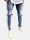 Men's Casual Pants Mid Waist Zipper Fly Jeans with holes