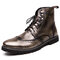 Men Stylish Brogue Carved Lace Up Leather Ankle  Boots - Silver