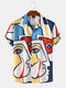 Mens Colorful Abstract Face Printed Revere Street Short Sleeve Shirts - Multi Color