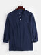 Mens Linen Solid Color 7 Color Casual Long Sleeve Henley Shirts With Pocket - Navy