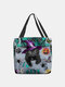Women Felt Magic Hat Cat Handbag Tote - Green