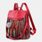 Women Ethnic Fluffy Ball Anti theft Multi-carry Backpack - #01