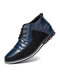 Men Round Toe Lace Up Business Casual Leather Ankle Boots - Blue