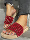 Women Crystals Hollow-out Comfy Pool Shoes Casual Striped Slippers - Red-crystals