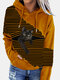 Black Cat Print Patchwork Striped Long Sleeve Plus Size Hooded T-shirt - Yellow