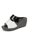 Women Fashion Rhinestone Decor Colorblock Comfy Wearable Casual Wedges Slippers - White