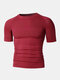 Men Stitching Compression Thermal Undershirt T-Shirt Breathable Elastic Breathable Workout Track Tops - Red