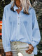 Solid Color Long Sleeves Stand Collar Loose Blouse For Women - Light Blue