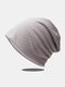 Women Dacron Knitted Solid Color Elastic Warmth Breathable All-match Beanie Hat - Light Gray