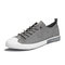 Men Breathable Comfy Wearable Lace Up Daily Camvas Sneakers - Gray
